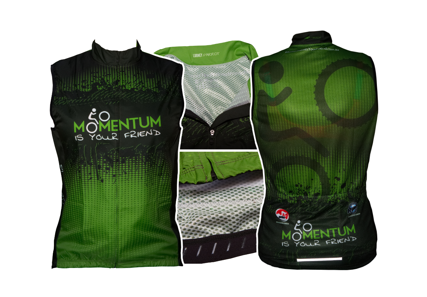 custom windproof cycling vest looney parrot