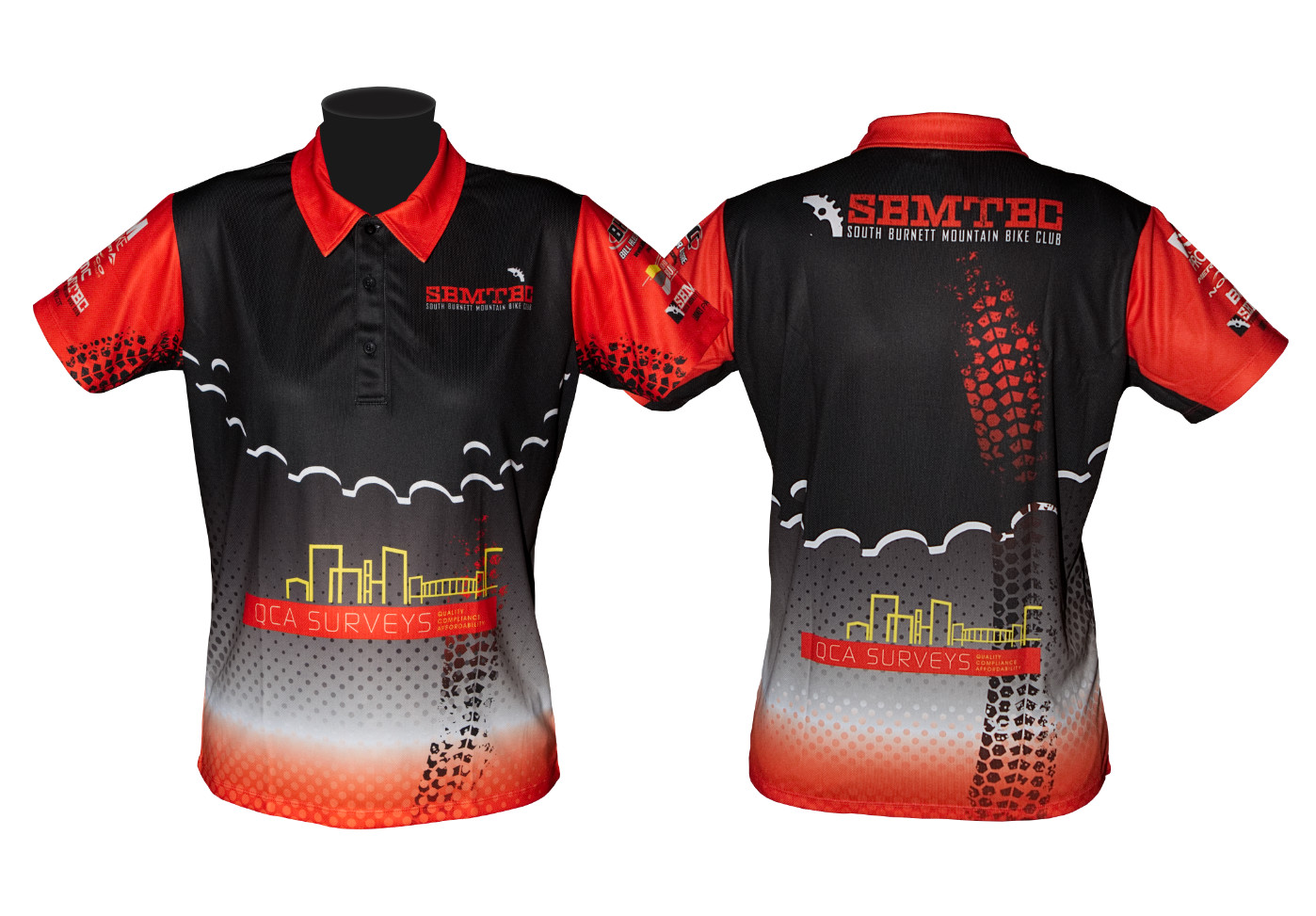 custom designed polo shirt south burnett mtb club looney parrot
