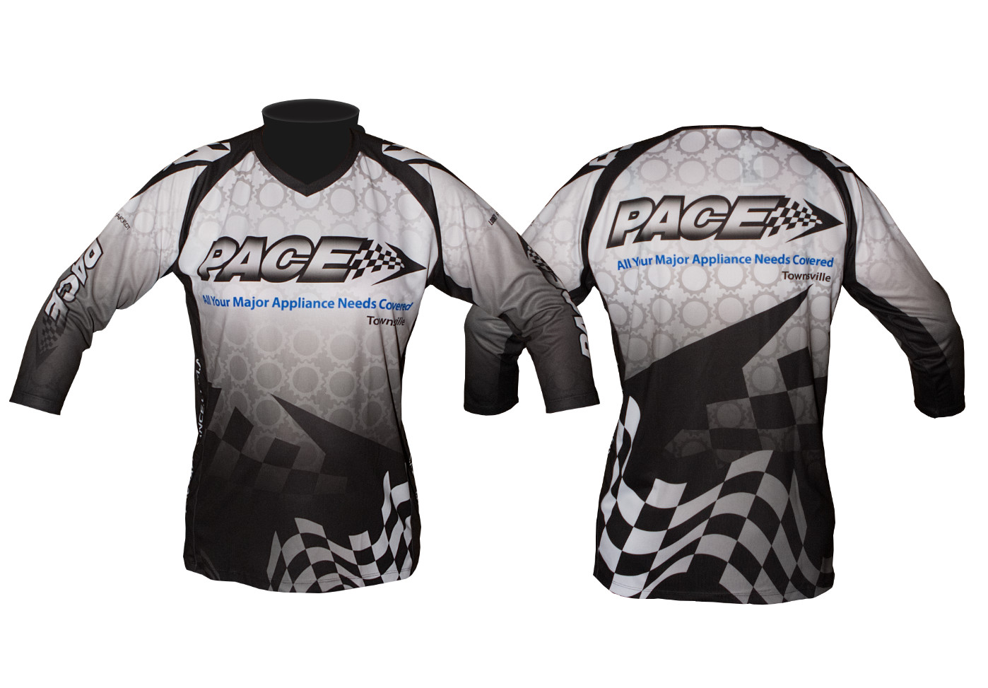 custom designed mtb trail 3/4 sleeve jersey
