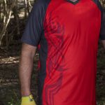 tribal red mtb short sleeve trail jersey shirt astro visual