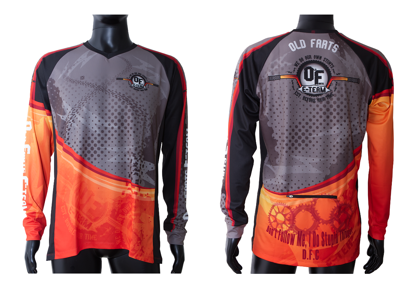Old Farts MTB E-Team long sleeve custom designed jersey
